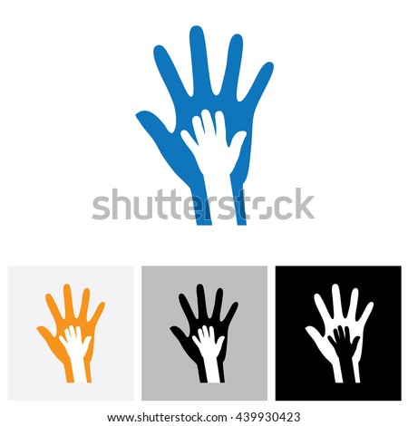 Parent & child's hand together- concept vector graphic. This illustration shows the relationship between parent and children. The kid's hand is placed over the father/mother's hand.
