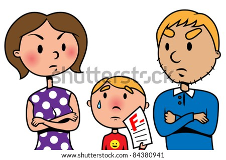 parents angry at their child because of test fail vector illustration - Cartoon Picture Of Child