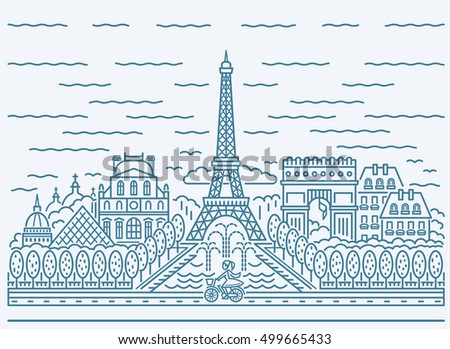 Paris city skyline view with Eiffel Tower, Triumphal arch, The National Residence of the Invalids, Louvre, pyramid, cathedrals, buildings, fountains and girl riding a bike . Flat design.