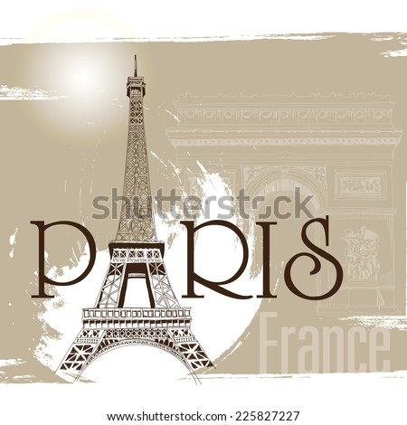Paris in vintage style poster, vector illustration