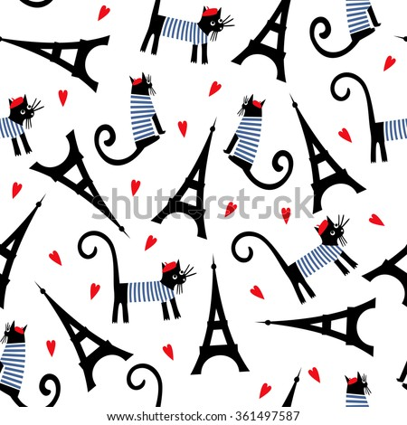 Snap Cartoon French Culture Symbols Seamless Pattern Stock Vector