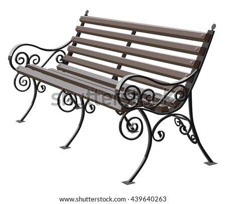 Park Bench Isolated Over White Background Stock Vector