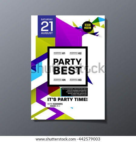 Party Flyer Template Vector Design Abstract Stock Vector