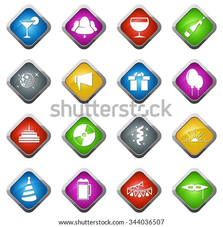 Party glossy web icon set