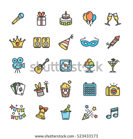 Party Icon Thin Line Color Set Pixel Perfect Art. Material Design. Vector illustration