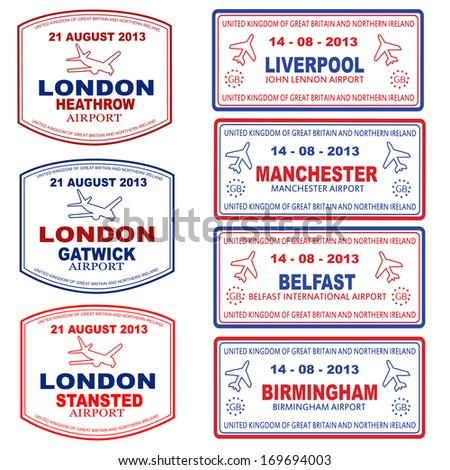 Passport stamps of the UK and Northern Ireland, vector illustration