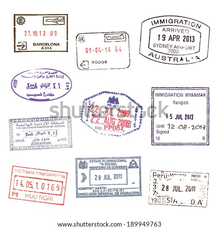 Passport stamps. Set 2