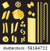 Pasta - a selection of different types of pasta on a black background. - stock photo