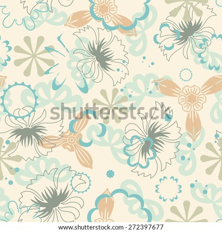 pastel flowers on a yellow background in seamless pattern