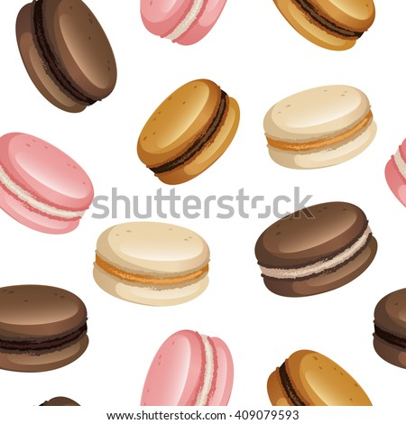 Pastel macarons set vector seamless pattern on white isolated background. EPS10 file. Food design for menu, textile, wrapping paper, wedding.