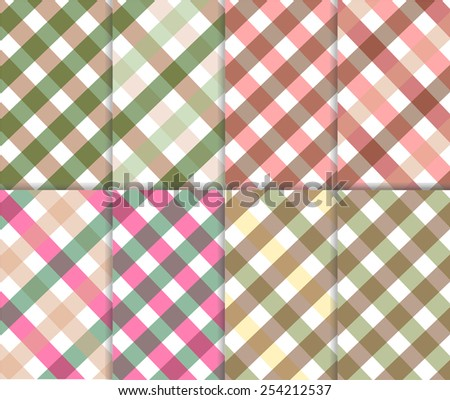 Pastel pink, olive green, brown, yellow and white color gingham background. Set of seamless multicolored checkered pattern, vector art image illustration, eps10