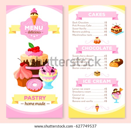 Template Design Flyer Realistic Cupcake Pink Stock Vector - Price list brochure template