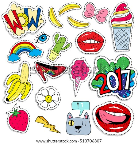 Stock Vector Patch Badges With Lips Hearts Stars Eyes Shoes Cat Banana Flower And Etc Retro Pop Art Style on Zipper Lips Vector Art