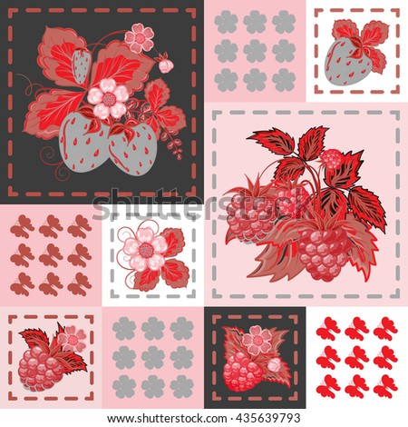 Patchwork background with strawberries and raspberries. Seamless vector pattern. Red gray backdrop.