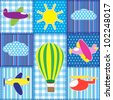 Patchwork with colorful aircraft.Seamless baby background - stock vector