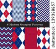 Patriotic Argyle and Chevron Patterns in Red, White and Blue with Silver lines. Perfect as 4th of July or Nautical background. Pattern Swatches made with Global Colors. - stock vector