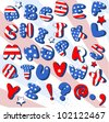Patriotic  Cartoon font . Letters  from A to Z - stock vector