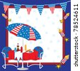 Patriotic Picnic Invitation - stock photo