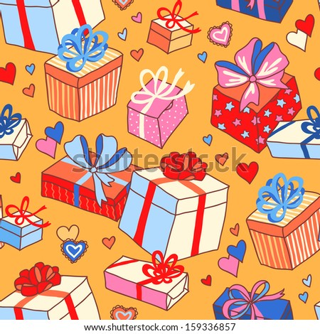 Pattern for valentines day: romantic gifts and hearts