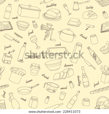 Pattern Kitchen appliances and food seamless background