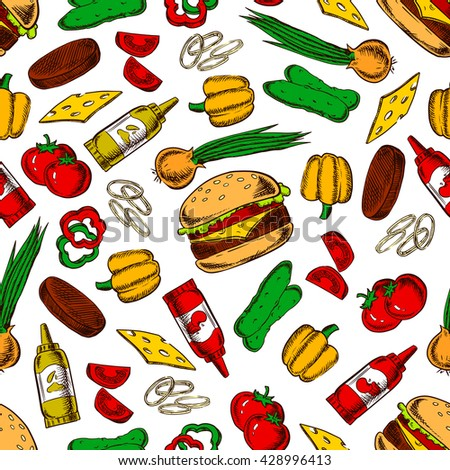 Pattern of cheeseburgers with vegetables and condiments. Seamless background of cheeseburgers with cheese and meat, tomatoes and cucumbers, peppers and onions vegetables, ketchup and mustard bottles