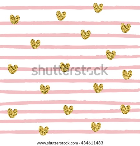 Pattern of gold glittering hearts and pink stripes on a white background, vector pattern for flyer, wedding card, invitation, wrapping, textile, web design