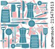 Pattern of kitchen tools, vector illustration - stock photo