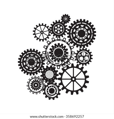 pattern of steampunk gear collection, industrial machine technology concept, steel cogwheel background vector illustration