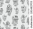 pattern of toy robots - stock
