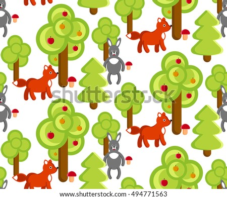 Pattern vector forest animals