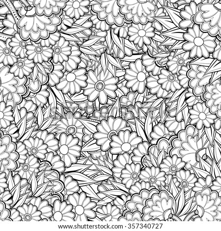 Pattern With Abstract Flowers Coloring Book Page For Adult