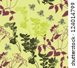 pattern with plants and bees,  pattern with leaves in vintage style. Seamless pattern for your design wallpapers, pattern fills, web page backgrounds, surface textures. - stock vector