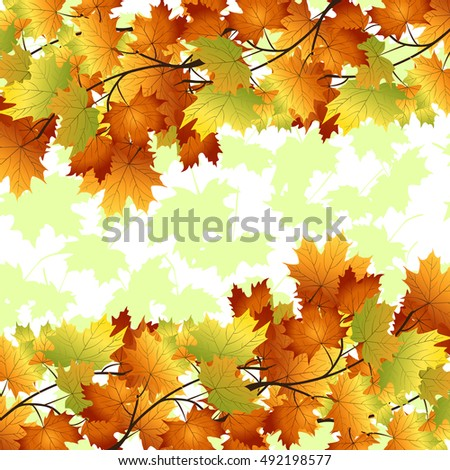 pattern with yellow and red leaves on a white background