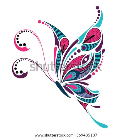 Sorceress Wings Rainbow Colors Vector Illustration Stock