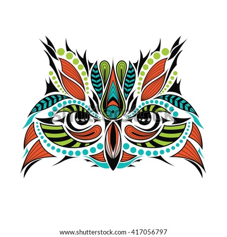 Patterned colored head of owl. African, indian tattoo design. It may be used for shirt, bag, postcard and poster.