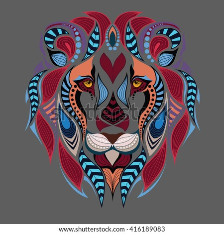 Patterned colored head of the lion. African / indian / totem / boho / tattoo design. It may be used for design of a t-shirt, bag, postcard and poster.