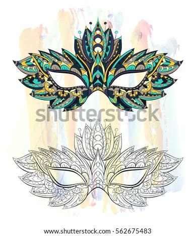 3d gold venetian carnival mask silhouette stock vector for Mardi gras mask tattoo