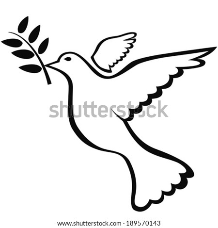 Dove Symbol Of Peace Vector Black Silhouette Stock Vector