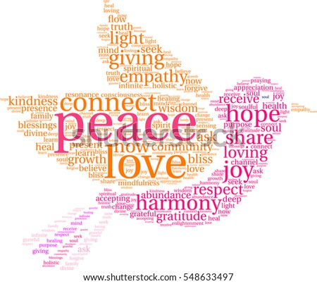 Peace word cloud on a white background.