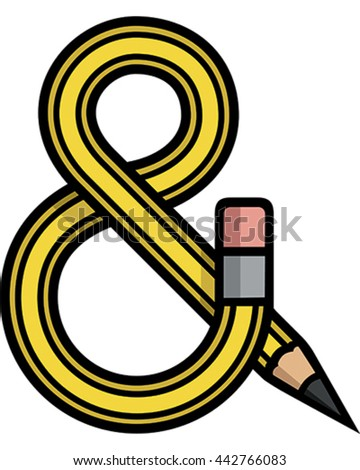 Pencil Vector Illustration. The pencil bends into an ampersand symbol. A great creative font icon.