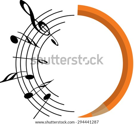pencil with music note design icon