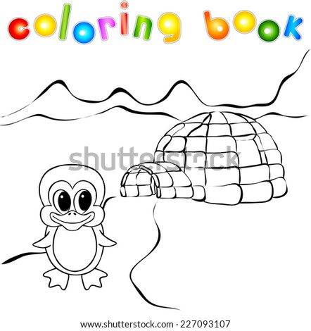 Penguin, ice yurt igloo and northern lights. Vector illustration