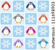 Penguins and snowflakes. Seamless vector pattern - stock vector