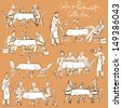 People at cafe and restaurant - Hand drawn Collection. Clip Art. - stock