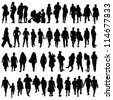 people black color silhouette vector on white background - stock vector