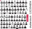 People icons. 80 characters set 1. Occupations. Professions. Human resources. - stock vector