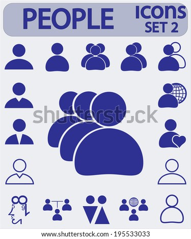 people icons, Set 2,  vector illustration. Flat design style