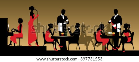 People in night club or restaurant sitting at a table Stock vector illustration