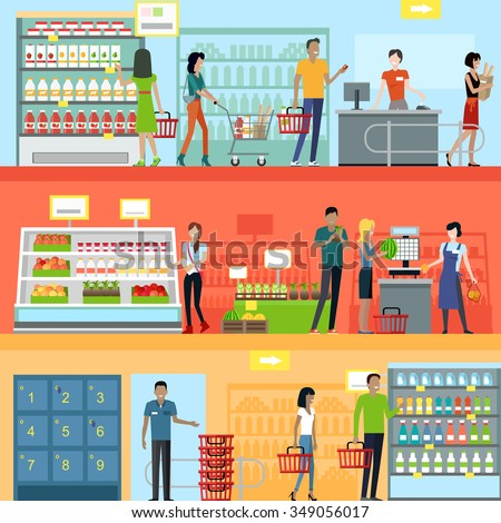People In Supermarket Interior Design Shopping Marketing Market