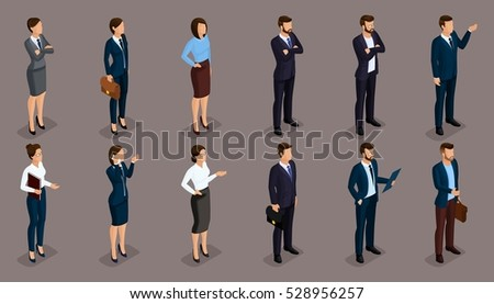 People Isometric 3D, businessmen and woman business clothes human movement. Concept isolated on a dark background of a noble